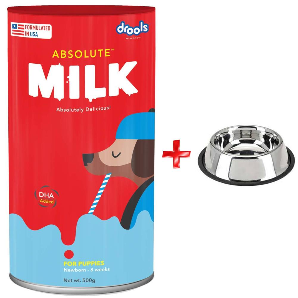 drools-absolute-puppy-milk-500-g-furry-friend-steel-anti-skid-puppy-bowl